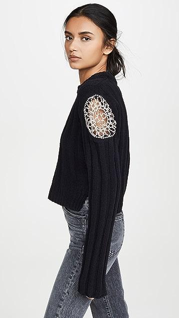 Area 水晶插片罗纹针织绒线短款毛衣