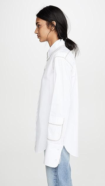 Area 水晶饰边工装袋衣袖衬衫
