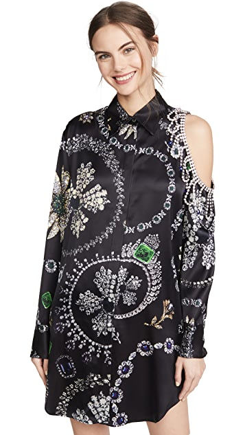 Area Jewelry Print Crystal Cutout Shirtdress