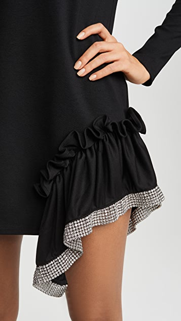 Area Ponte Jersey Crystal Peplum T-Shirt Dress