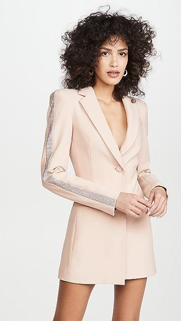 Area Wool Bonded Suiting Crystal Stripe Blazer Dress