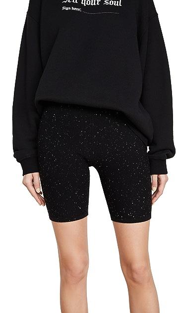 Area 微型珠片羊毛/真丝机车风格短裤