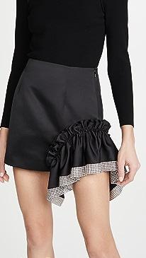 Duchess Crystal Trim Ruffle Miniskirt