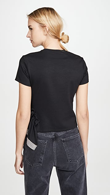 Area 双罗纹平纹针织面料水晶腰褶下摆 T 恤
