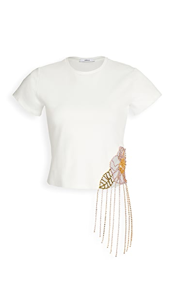 Area 水晶花朵镂空合身 T 恤