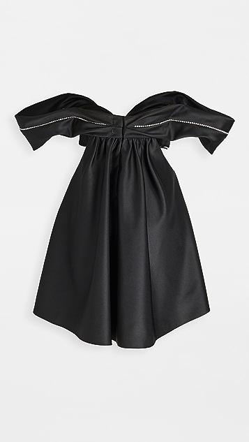 Area 水晶镂空垂褶连衣裙