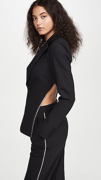 Area 水晶装饰露背西装外套