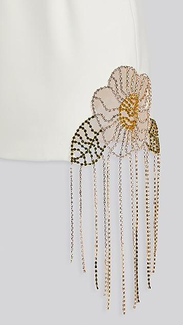 Area Crystal Flower Cutout Dress