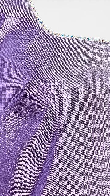 Area 水晶短项链迷你连衣裙