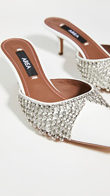 Area Crystal Fringe Kitten Heel Sandals