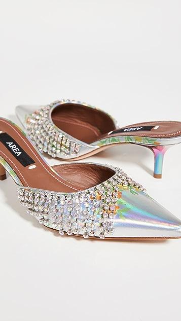 Area 花卉水晶流苏猫跟凉鞋