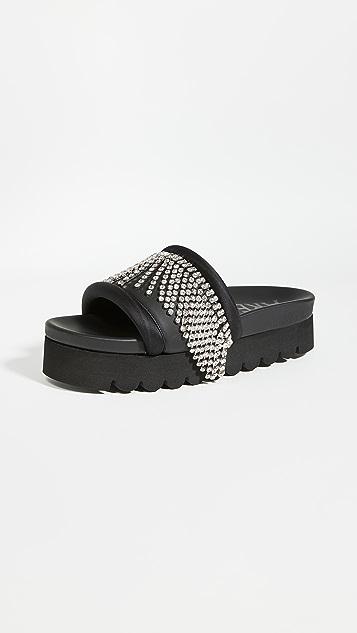 Area 水晶流苏厚底凉鞋