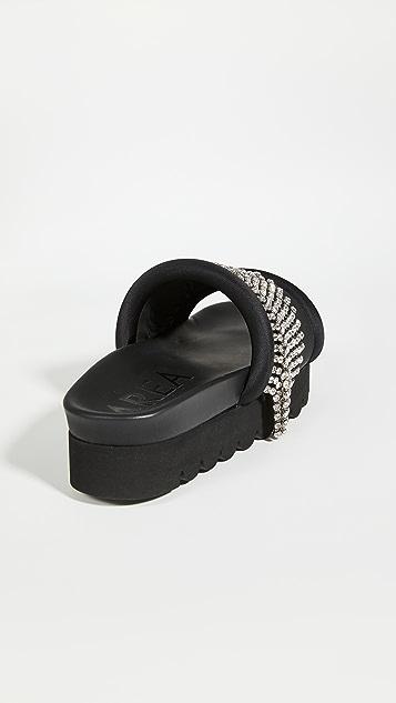 Area Crystal Fringe Platform Sandals