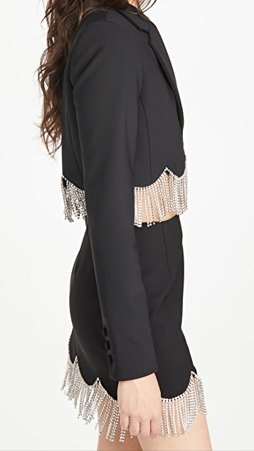 Area Cropped Blazer with Scalloped Crystal Hem