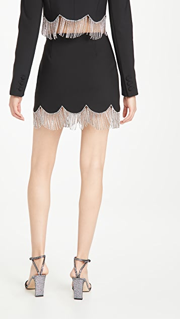 Area Miniskirt with Scalloped Crystal Hem