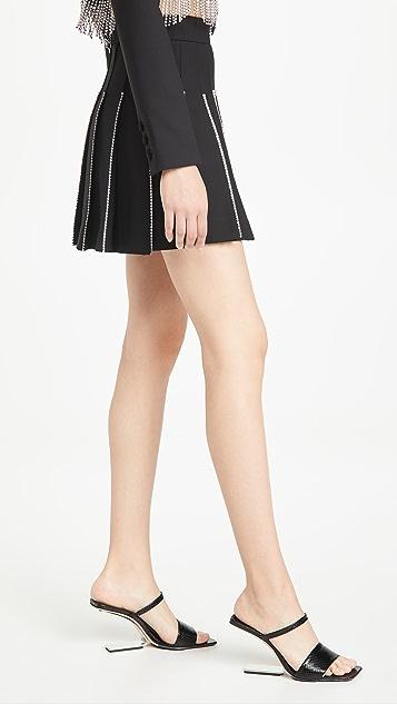 Area Crystal Trimmed Pleated Miniskirt