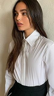 Area 水晶流苏衣领女式衬衫