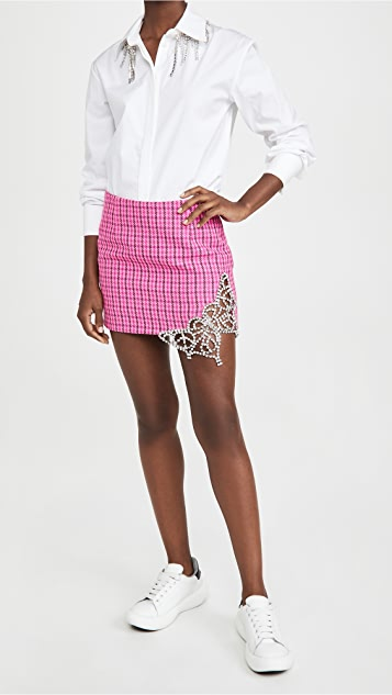 Area Crystal Butterfly Cutout Miniskirt