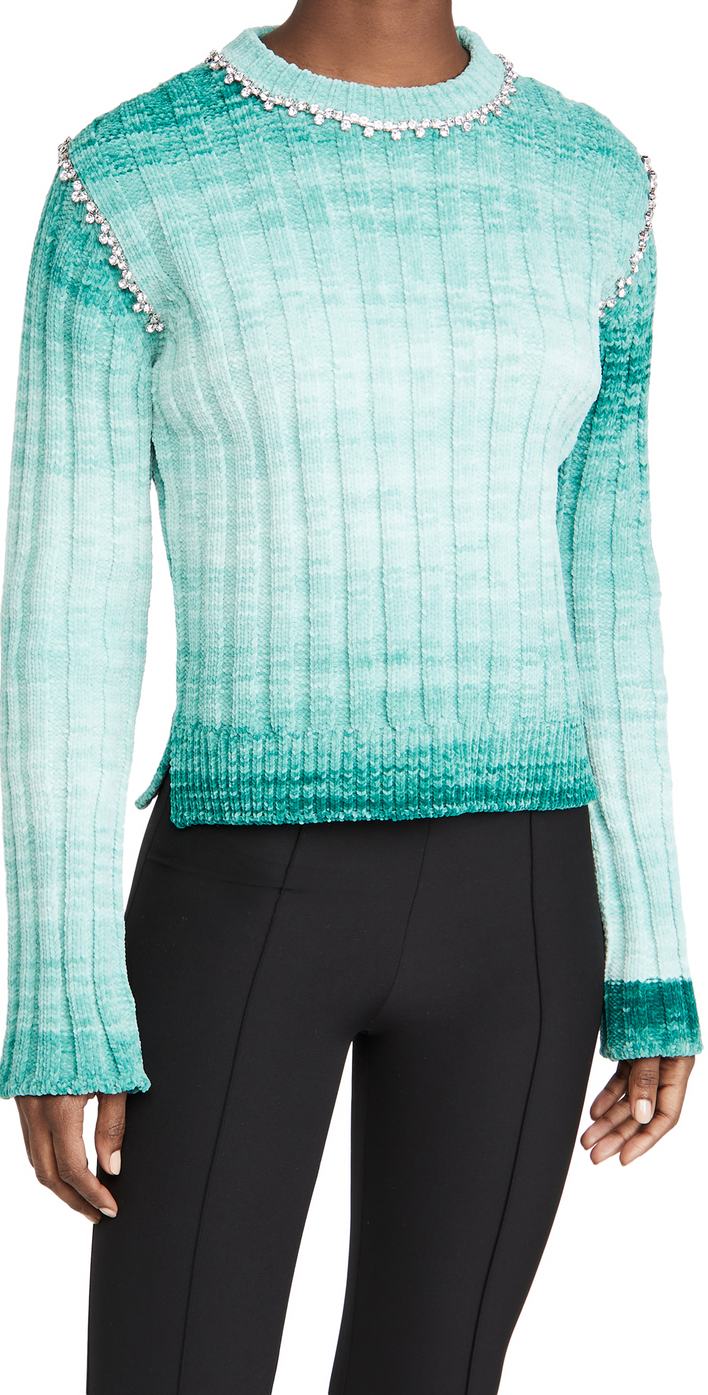 Area Fitted Pullover Sweater with Crystal Stitch