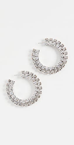 Area - Stacked Crystal Round Hoops