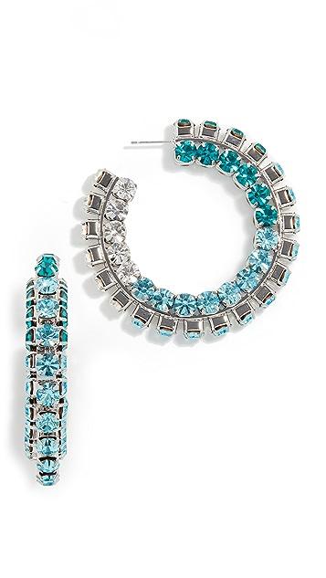 Area 堆叠水晶圈式耳环