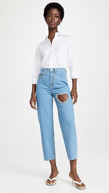 Area Crystal Heart Jeans