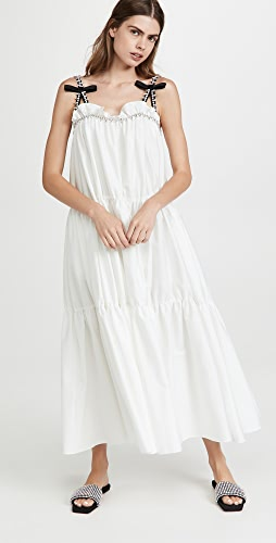 Area - Shirred Maxi Dress with Contrast Crystal Straps