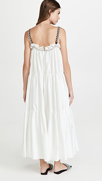 Area Shirred Maxi Dress with Contrast Crystal Straps