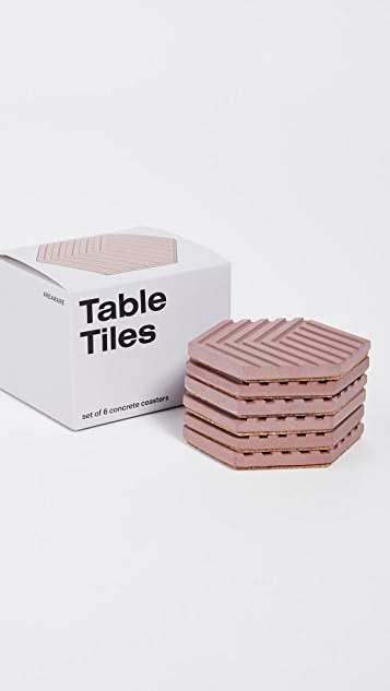 Areaware Table Tile Concrete Coasters