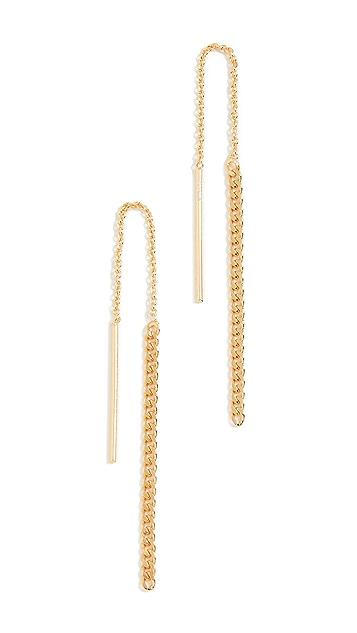 Argento Vivo Gold Curb Chain Threader Earrings