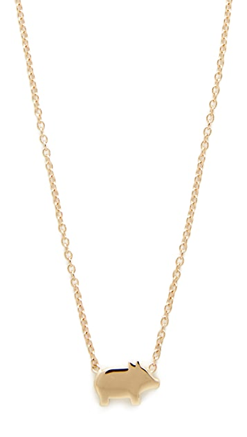 Ariel Gordon Jewelry 14k Gold The Menagerie Piglet Necklace