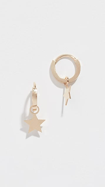 Ariel Gordon Jewelry 14k Star Charming Hoops