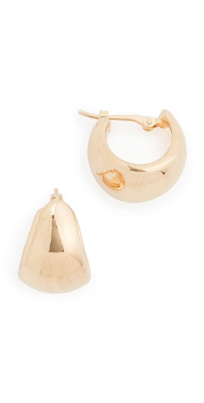 14k Helium Huggie Earrings