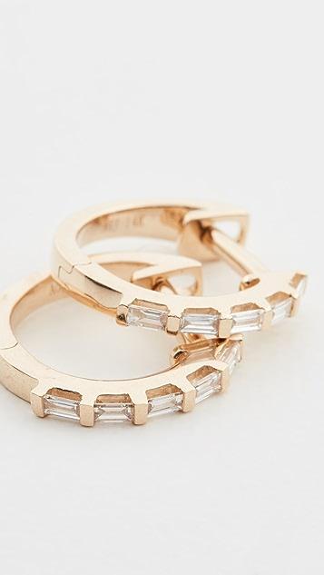 Ariel Gordon Jewelry 14k Baguette Diamond Huggies
