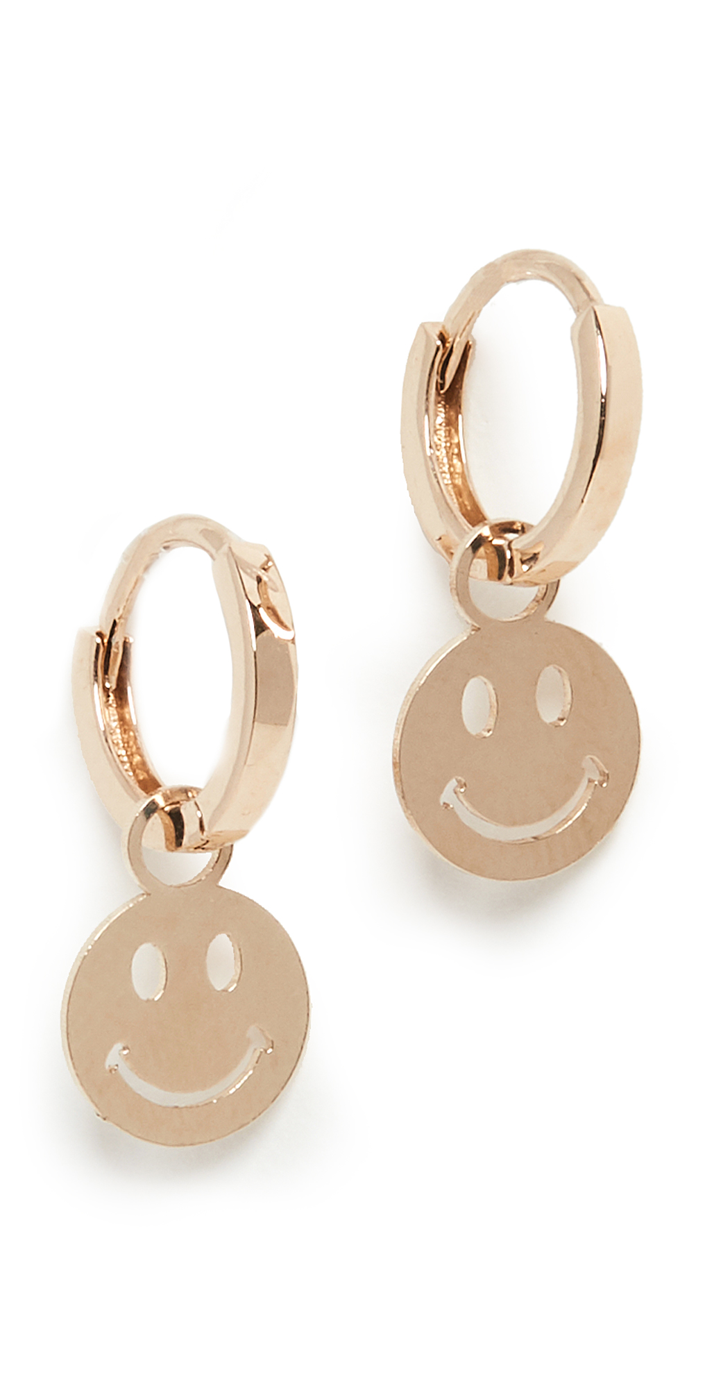 14k Smile Charming Hoops