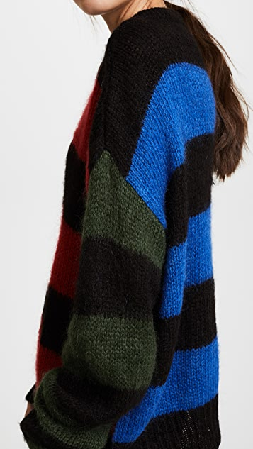 Aries Stripey Cropped Crew Sweater
