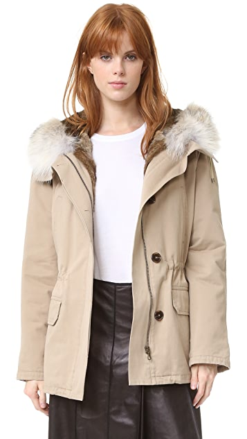 ff57e7783f01 Army By Yves Salomon Short Classic Parka with Fur