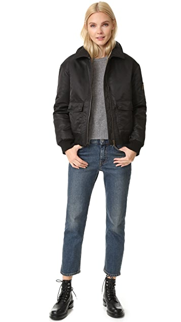 Army By Yves Salomon Bomber Jacket with Fur Trim