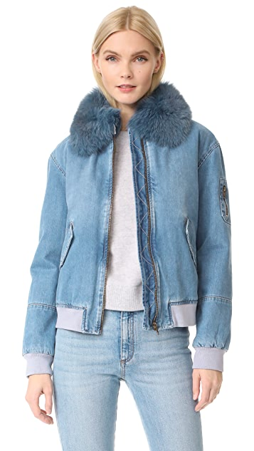 Army By Yves Salomon Denim Bomber Jacket