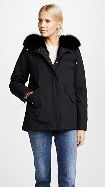 Army By Yves Salomon Reversible Jacket with Fox Hood Trim