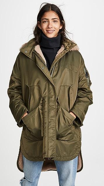 Army By Yves Salomon Curly Lamb Coat