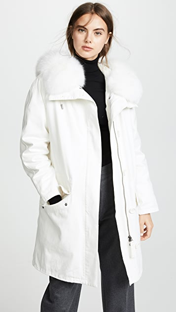 0d41a1bfe6d4 Army By Yves Salomon White Hooded Coat