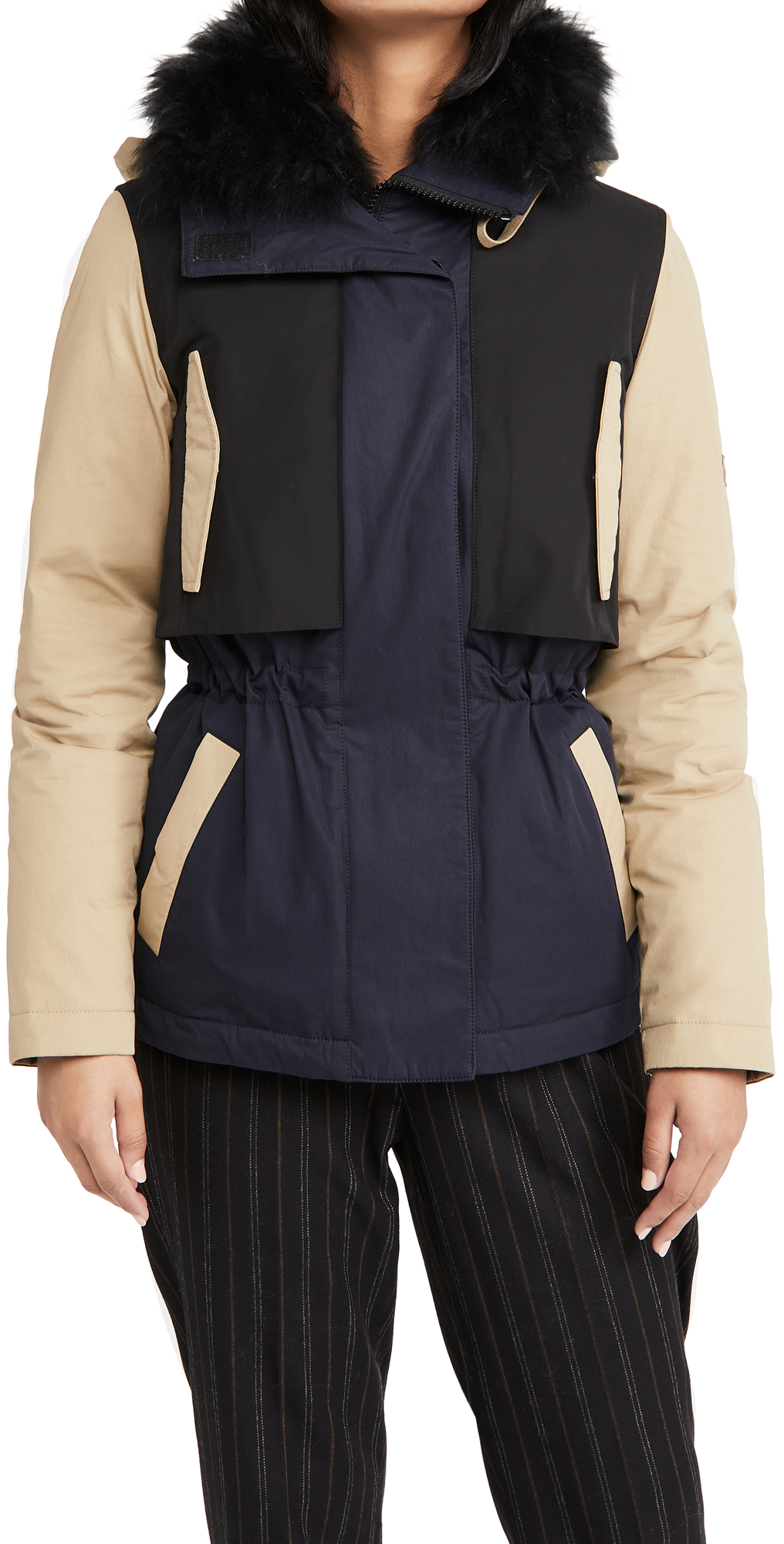 Army By Yves Salomon Colorblock Coat