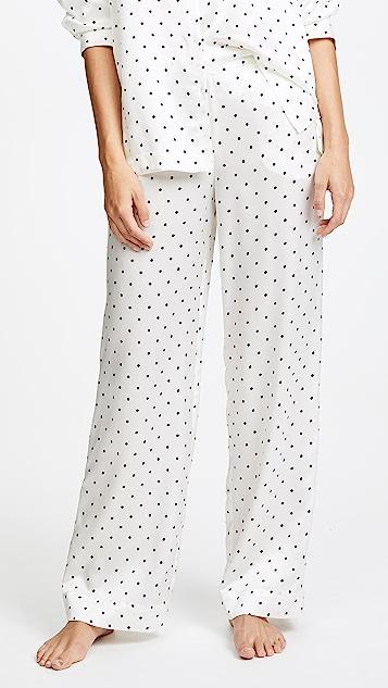 ASCENO Pyjama Bottoms - Jet Black Polka
