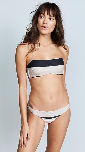 ASCENO Wrap Bandeau Bikini Top - Neutral Bold Stripe