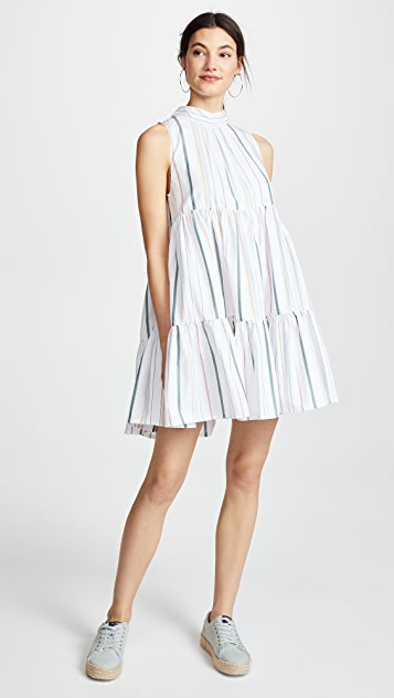 ASCENO Short Neck Tie Dress - Mixed Stripe