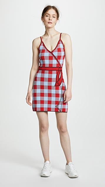 Adam Selman Secret Agenda Slip Dress - Sky/Lipstick