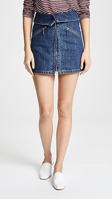 Adam Selman Sport Foldover Miniskirt