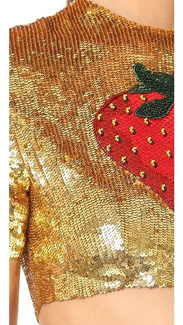 ASHISH Strawberry Crop Top
