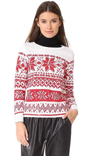 ASHISH Sequin Fairisle Top - White/Red